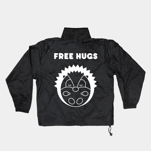 k way free hugs back shop rebels